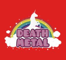 DEATH METAL! (Funny Unicorn / Rainbow Mosh Parody Design) One Piece - Short Sleeve