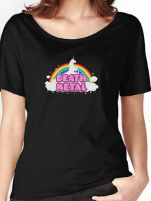 DEATH METAL! (Funny Unicorn / Rainbow Mosh Parody Design) Women's Relaxed Fit T-Shirt