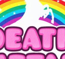 DEATH METAL! (Funny Unicorn / Rainbow Mosh Parody Design) Sticker