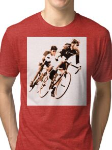 Cyclists into the Curve - High Contrast Sepia Tri-blend T-Shirt