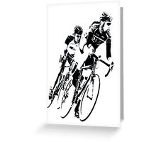 Bike Racers into the Curve B&W -1 Greeting Card