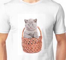 Funny gray kitten in a basket Unisex T-Shirt