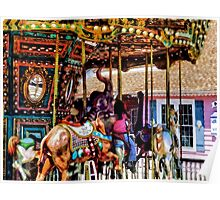 Merry Go Round With Elephants Poster