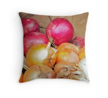 Onions in a barrel Throw Pillow