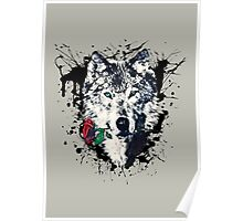 Wolf with Rose, Love Symbol, Wolves, Nature, Native, Splash,  Poster
