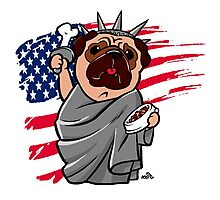 4th of July Independence Pug Photographic Print
