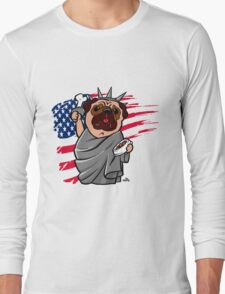 4th of July Independence Pug Long Sleeve T-Shirt