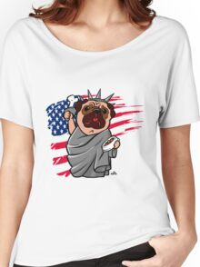 4th of July Independence Pug Women's Relaxed Fit T-Shirt