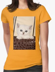 White British kitten with big eyes Womens Fitted T-Shirt