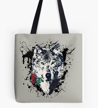 Wolf with Rose, Love Symbol, Wolves, Nature, Native, Splash,  Tote Bag