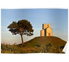 Tree and Romanesque Church on Hill, Croatia Poster