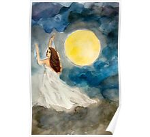 Goddess of the Cloudy Night Sky Poster