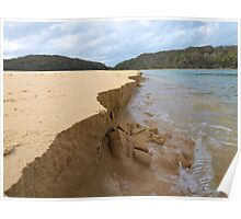 River mouth erodes ocean beach, Nelson Beach, Mimosa Rocks National Park Poster