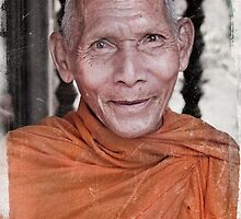 Buddhist Monk at Temple Angkor Wat Cambodia by photoshopforartists .com