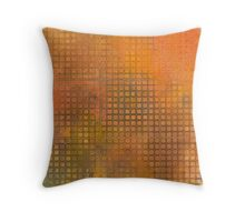 Watercolor Abstraction: Orange Grid Texture Throw Pillow