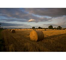 Evening haybales Photographic Print