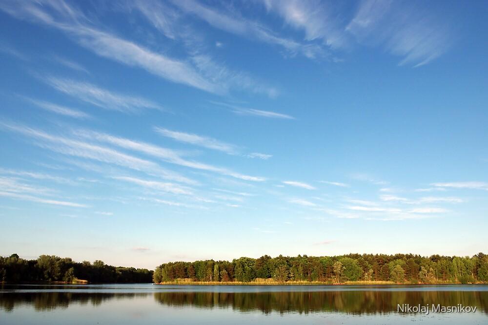 Blue Cloudy Sky Over a Pond by Nikolaj Masnikov