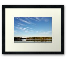 Blue Cloudy Sky Over a Pond Framed Print
