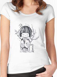 Kokeshi  Geisha doll Women's Fitted Scoop T-Shirt