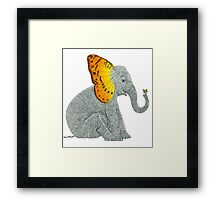 Elephant and Butterfly Framed Print