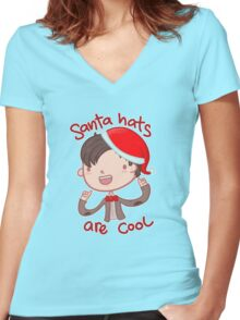 I wear a santa hat now Women's Fitted V-Neck T-Shirt