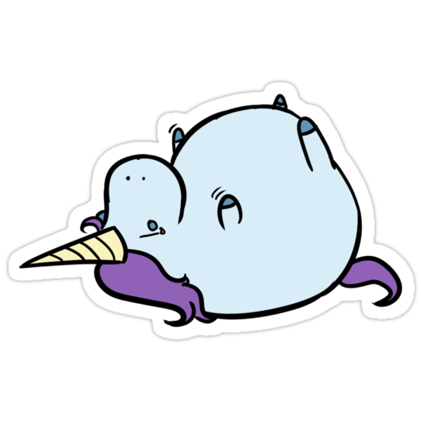 Quot Sad Fat Unicorn Quot Stickers By Saltyblack Redbubble