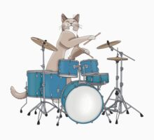 Cat Playing Drums - Blue Kids Clothes