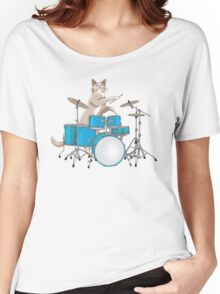 Cat Playing Drums - Blue Women's Relaxed Fit T-Shirt
