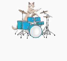Cat Playing Drums - Blue Mens V-Neck T-Shirt