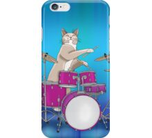 Cat Playing Drums - Blue iPhone Case/Skin
