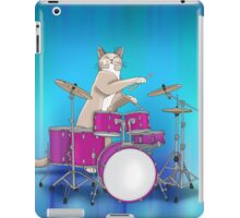 Cat Playing Drums - Blue iPad Case/Skin