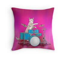 Cat Playing Drums - Pink Throw Pillow