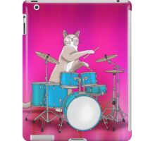 Cat Playing Drums - Pink iPad Case/Skin