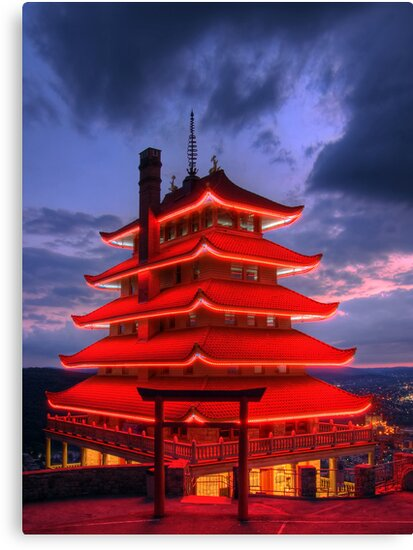 Pagoda Overlooking City of Reading, PA at Night by Michael Mill