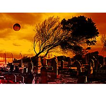 Dark Moon Over The Graveyard Photographic Print