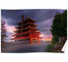 Pagoda Overlooking City of Reading, PA at Sunset. Poster