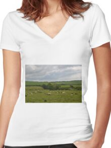Rural England............... Women's Fitted V-Neck T-Shirt