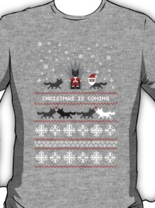 Red Christmas Sweater + Card T-Shirt