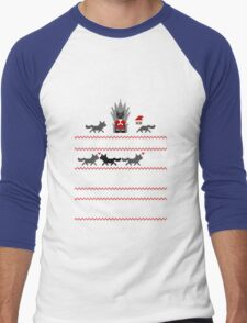 Red Christmas Sweater + Card Men's Baseball ¾ T-Shirt