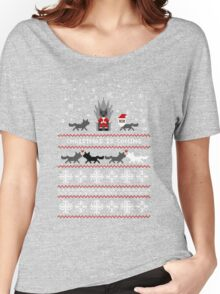 Red Christmas Sweater + Card Women's Relaxed Fit T-Shirt