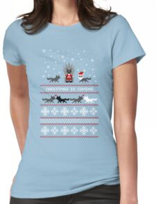 Red Christmas Sweater + Card Womens Fitted T-Shirt