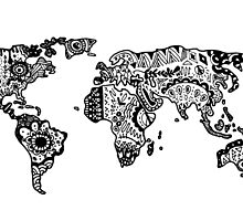 Map of the World Zentangle by alexavec