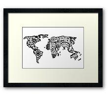 Map of the World Zentangle Framed Print