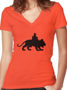 Battlecat plus one - Black Women's Fitted V-Neck T-Shirt
