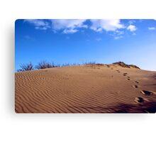 Walking through the sand dunes Canvas Print