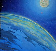 Oil Painting - Blue Planet and its Moon, 2008 by Igor Pozdnyakov