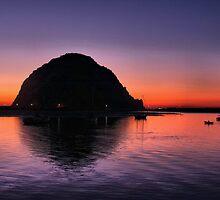 Sunset at Morro Rock by Barbara  Brown