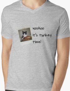 Turkey Time Kitty Mens V-Neck T-Shirt