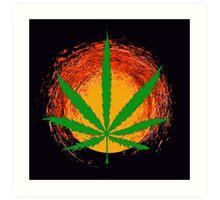 Marijuana Leaf and the Sun Art Print
