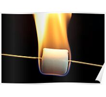 Marshmallow on a wood stick in fire. Poster